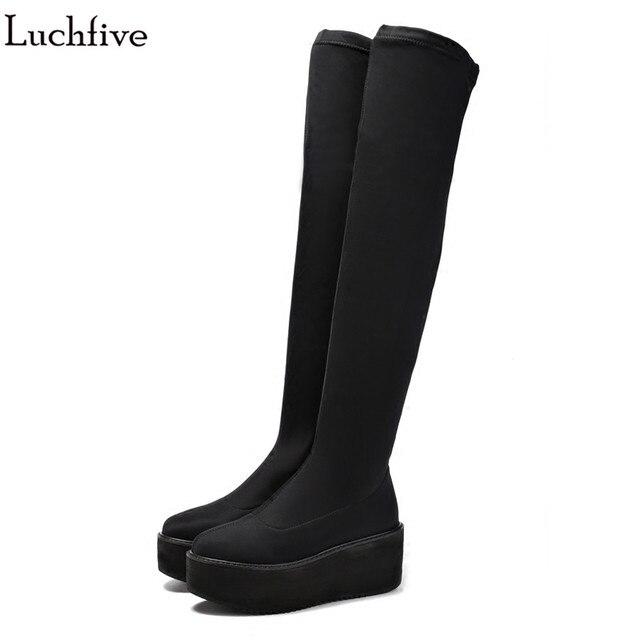 1b63f45d6e1 Fall New Designer Stretch Suede Over The Knee Boots Womens platform wedge  heels elastic winter Thigh High Boots bota feminina