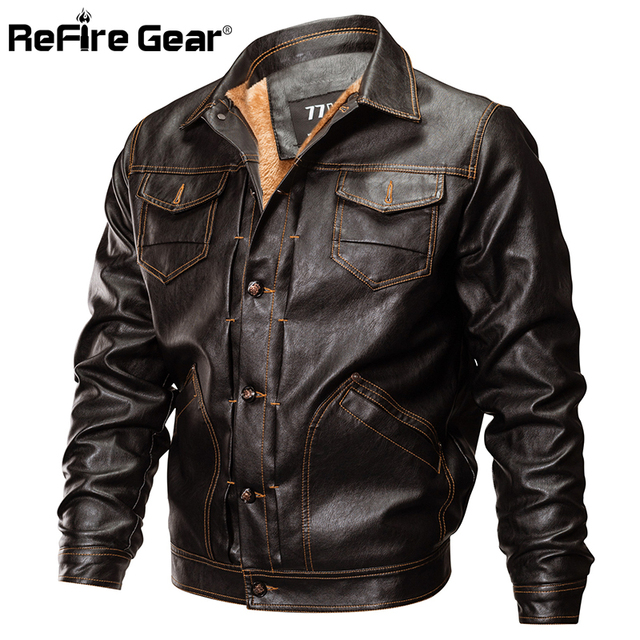 28ca5a4b7 US $50.36 31% OFF ReFire Gear Winter PU Leather Jacket Men Tactical Army  Bomber Jacket Warm Military Pilot Coat Thick Wool Liner Motorcycle  Jacket-in ...