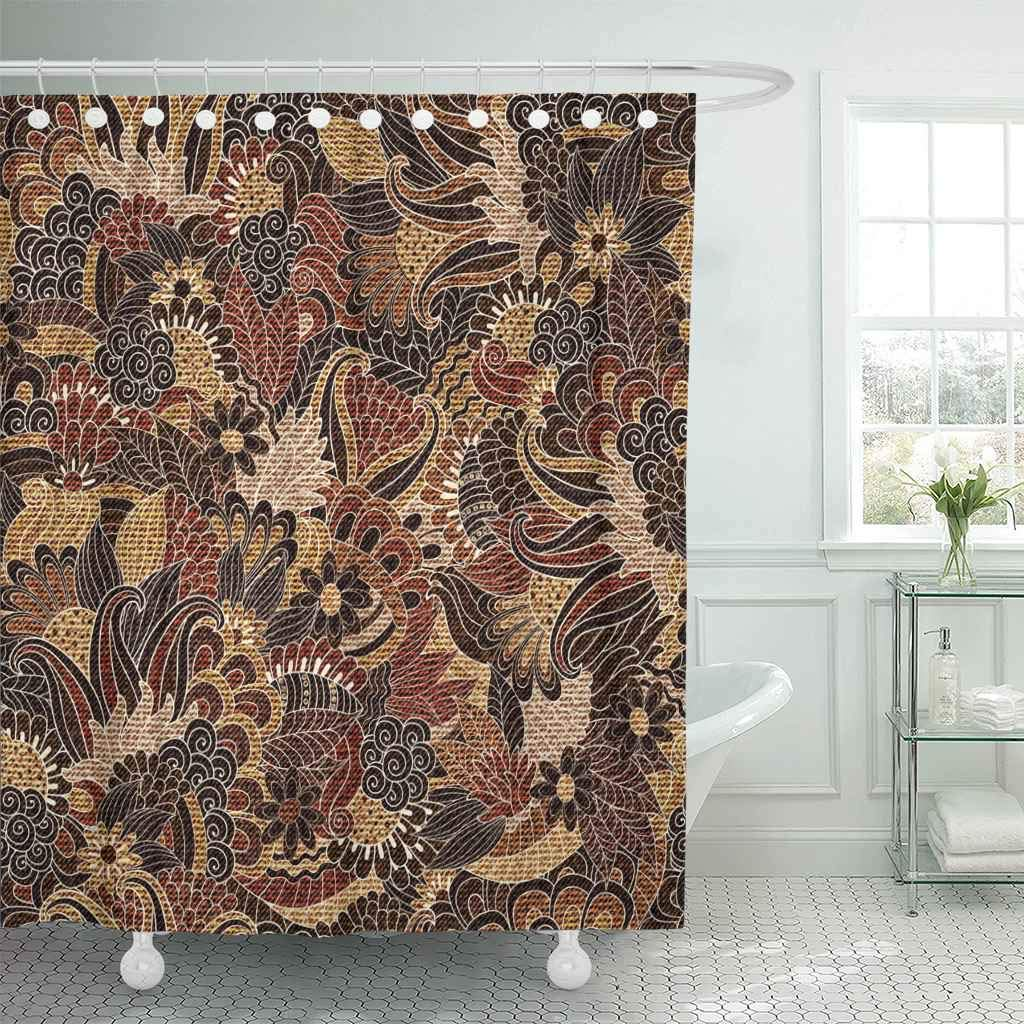 Us 18 73 25 Off Fabric Shower Curtain Hooks Woven Floral Pattern Fills Jacquard Linen Paisley Fantasy Jute Arabic Thread Decorative In Shower