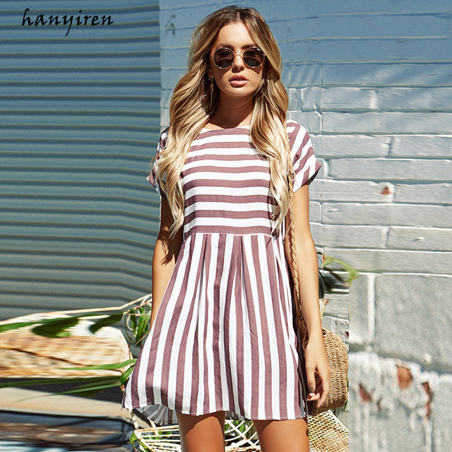 Hanyiren Sexy Women O Neck Striped Fress 2019 New Bohemian A-Line Short Mini Sexy Beach Dress Casual Summer Print Party Dresses