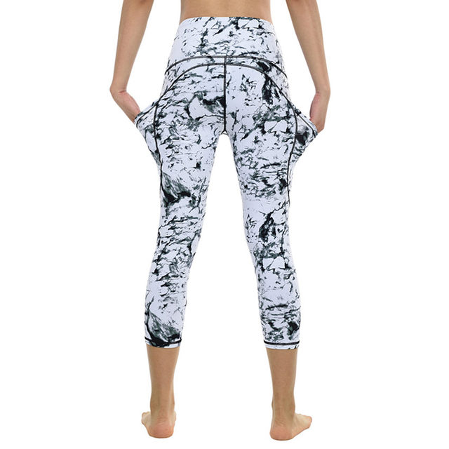 Marble Capri Yoga Pants for Women