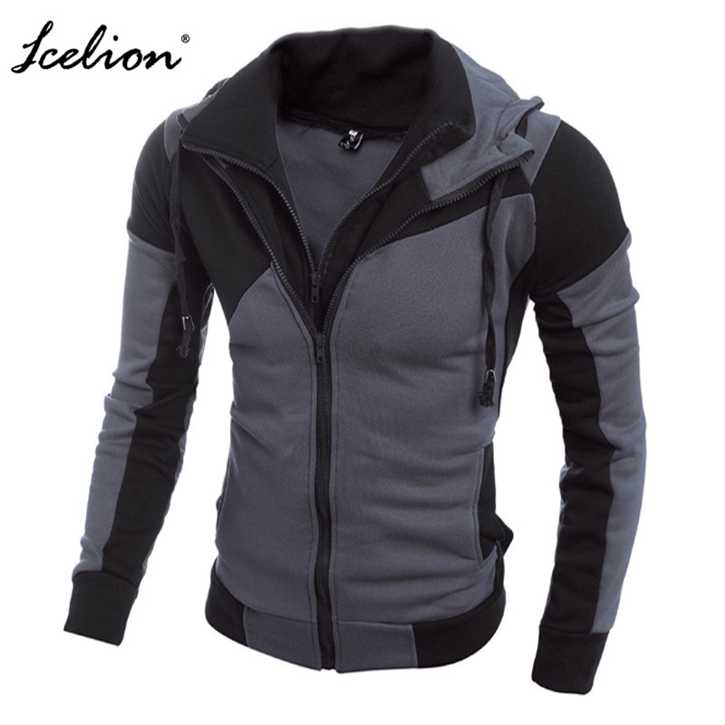 IceLion 2019 Autumn Hoodies Men Patchwork Zipper Cardigan Sweatshirts Slim Fit Sportswear Fashion Casual Tracksuit Dropshipping