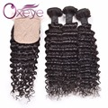 Indian Deep Wave Silk Base Closure With 3 Bundles Human Hair Bundles With Closure Indian Deep Curly With Closure With Baby Hair
