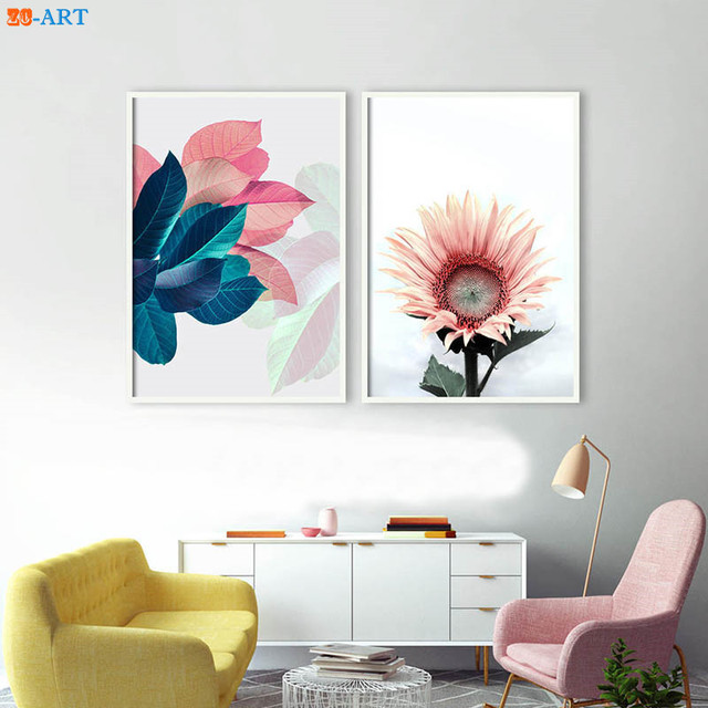 Nordic Sunflower Print Leaves Poster Blush Pink Navy Blue Wall Art ...