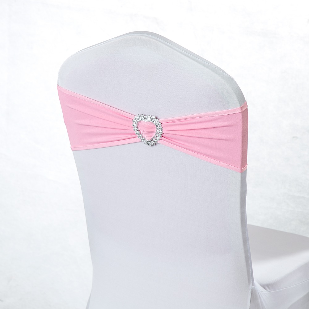 100 Heart Spandex Wedding Chair Cover Sash Bands Purple Gold Rose Tiffany Pink Chair Sashes For