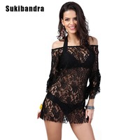 Sukibandra 2017 Moda Off shoulder Floral Lace Kobiety Ladies Sexy Mini Krótki Klub Suknie Sheer Black Woman Flare Rękawem Sukienka