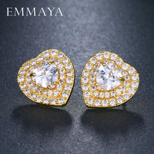 EMMAYA Gold Color Heart Earrings Women Paved CZ Crystal Stud Earrings for Wedding Party Heart Cubic Zirconia Ear Stud(China)