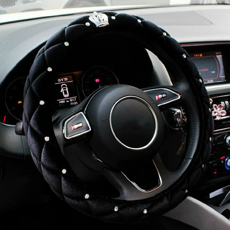 Car Winter Steering Wheel Cover 38CM Rhinestone Crystal Diamond Crown styling auto interior decoration accessories For BMW Audi