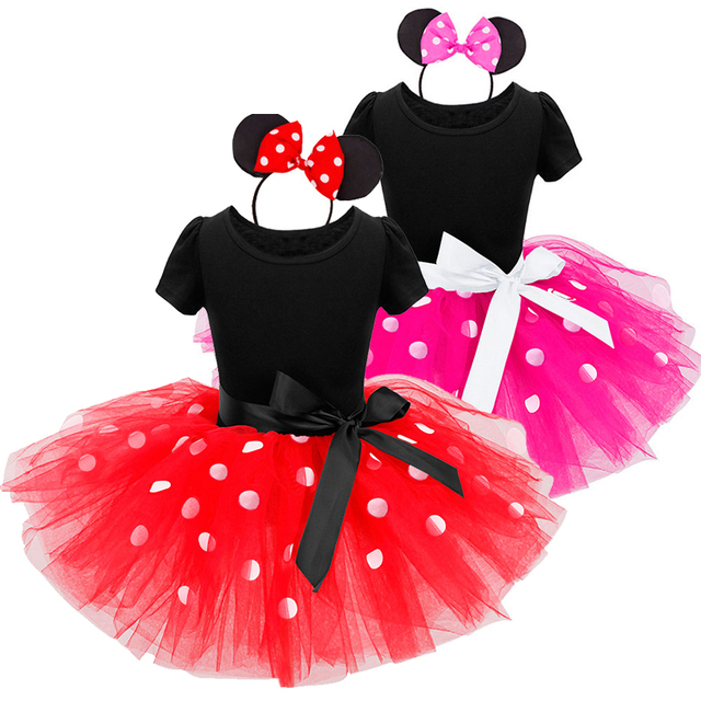 Fancy Kids Christmas Dresses for Girls Birthday Halloween Cosplay Dots Minnie Mouse Dress Up Kid Costume Baby Clothes 2 6 Years