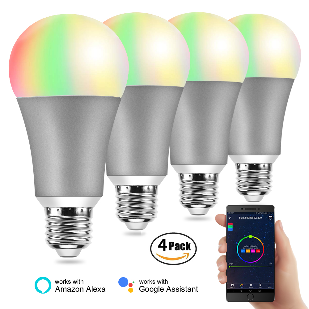 4PCS BB SPEAKER Light Bulbs Smart Bulb E27 220V Smart Lamp Led/Color Smart Bulb Wifi/ Alexa/Google Home Smart Bulb Dimmable 2pcs blue