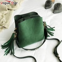 2018 Fashion Scrub Women Bucket Bag Vintage Tassel Messenger Bag High Quality Retro Shoulder Bag Simple