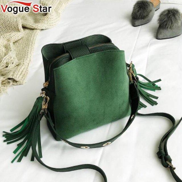 10d91d69f979 2019 Fashion Scrub Women Bucket Bag Vintage Tassel Messenger Bag High  Quality Retro Shoulder Bag Simple