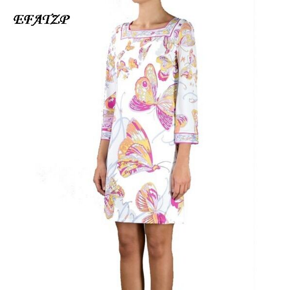 Ladies Famous Italian Brands White butterfly flower Print Square Collar 3 4 Sleeves Jersey Silk Dress