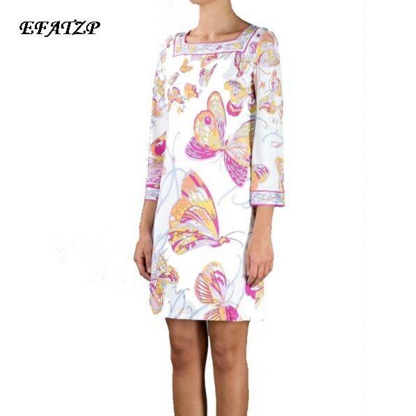 Femmes célèbres marques italiennes blanc papillon fleur imprimé col carré 3/4 manches Jersey soie robe lâche tenue décontractée, XXL-in Robes from Mode Femme et Accessoires    1