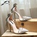 Zapatos de las mujeres Bombas 2017 Otoño punta estrecha Bowtie Mujeres Bombas Tacones de Cristal Transparente Zapatos de tacón alto Bombea Zapatos de Las Señoras de Plata