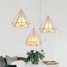 Lámpara de techo de Material de hierro con forma de diamante de una sola cabeza, lámpara de decoración, Sin bombilla incluida (oro rosa)
