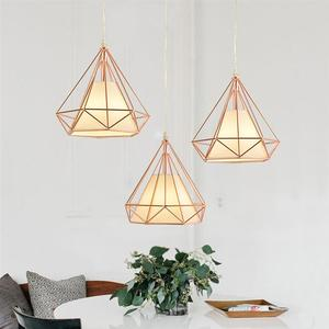 Image 1 - Single Head Diamond Shape Iron Material Ceiling Lamp Decoration Lamp No Bulb Included(Rose Gold)