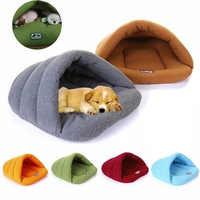 Velo macio inverno quente pet cão cama 4 tamanho diferente pequeno cão gato saco de dormir filhote cachorro caverna cama frete grátis