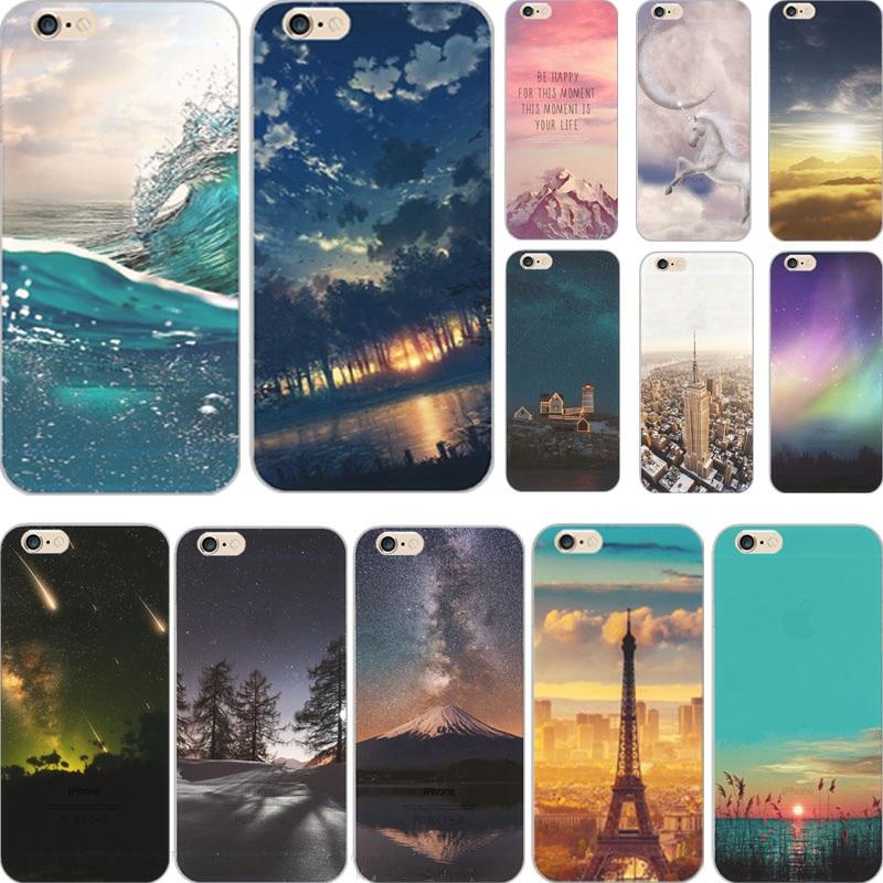 5c pefect lukisan grand gunung lembut tpu penutup untuk apple iphone kasus case phone5c