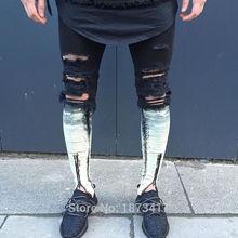 Ripped Patchwork Zipper Jeans For Men Skinny Distressed Slim Famous Brand Designer Biker HipHop Swag Tyga White Black Slim Jeans