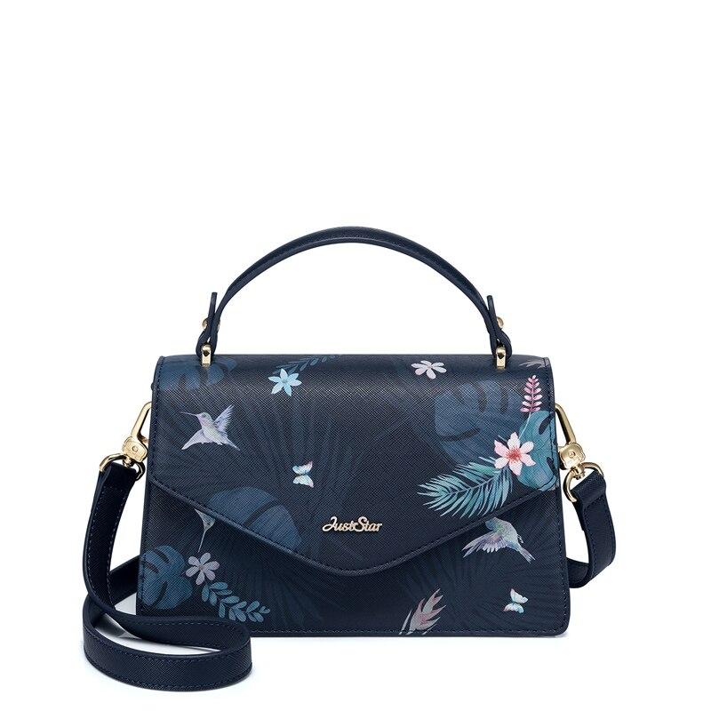 JUST STAR femmes sacs à main en cuir PU dames mode fleur impression fourre-tout sac à main femme rabat all-match loisirs sacs à bandoulière