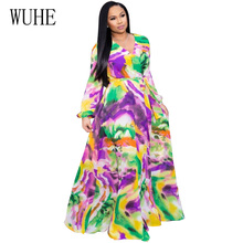 WUHE Autumn Boho Printed Chiffon Long Dresses Elegant Women V Neck Long Sleeve Belted Party Dress Loose Vintage Beach Maxi Dress boat neck belted maxi dress