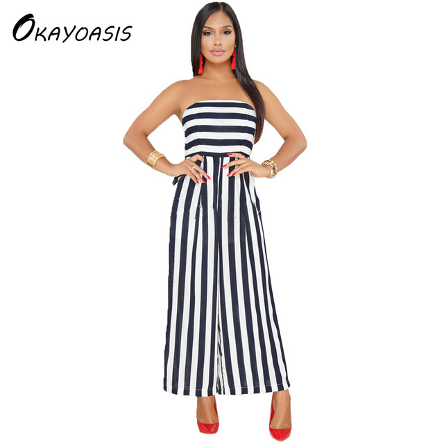 bd061b1ab606 OKAYOASIS Free Shipping 2018 Striped Jumpsuit Rompers for Women Overalls  Ladies Strapless Wide Leg Pants for