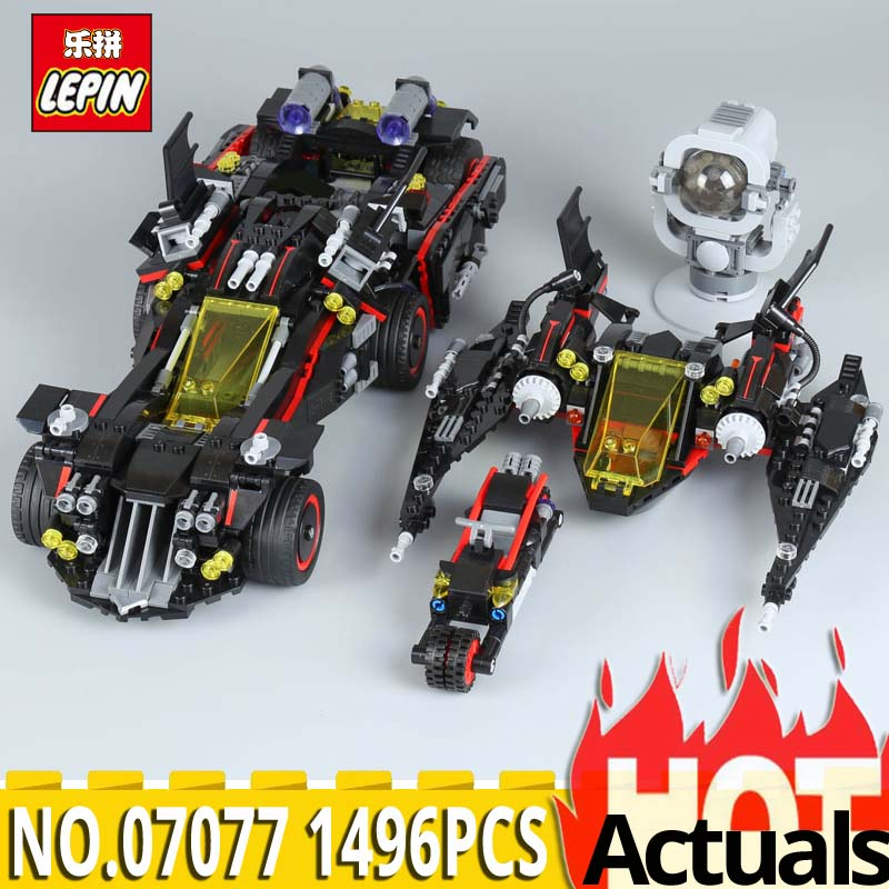 Lepin 07077 Genuine Batman Movie Series The Ultimate Batmobile Model Set Educational Building Blocks Bricks Toys 70917 1496Pcs 07077 1496pcs batman movie series the ultimate batmobile set diy toys educational building blocks compatible with 70917 lepin