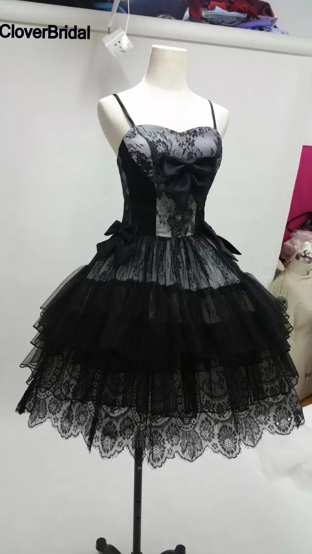 Lovely Spaghetti Straps White And Black Tulle Lace Cocktail Dress Short Tiers Skirt Corset Back Free Custom-made