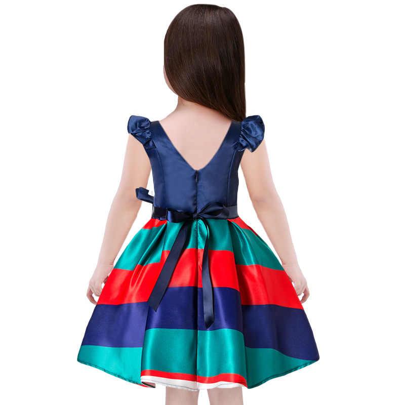Детские платья для девочек, синие платья для девочек в американском стиле для вечеринки и свадьбы, летний модный топ, платье для дня рождения от 2 до 10 лет