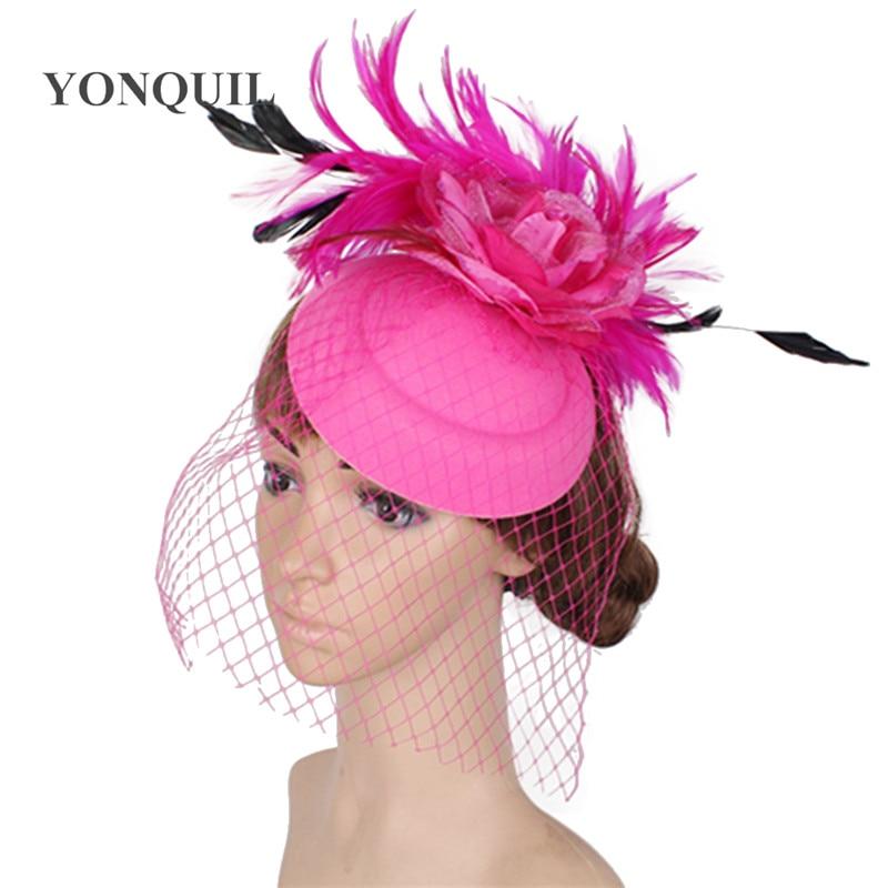 Woman fashion fancy wedding chapeau cap feather felt wool fascinator hat elegant female hair accessories church headwear SYF286