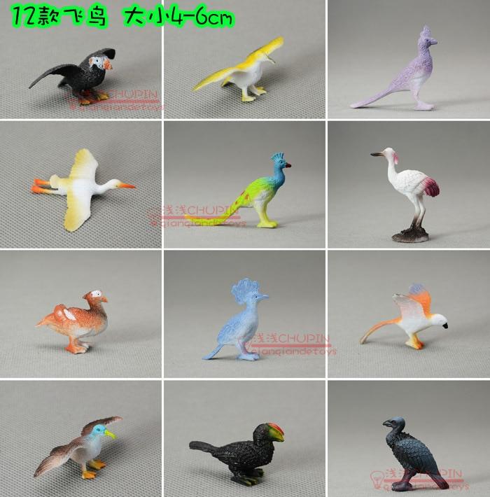 MINI  solid  eco-friendly  plastic birds model toy   12PCS/lot 4-6CM