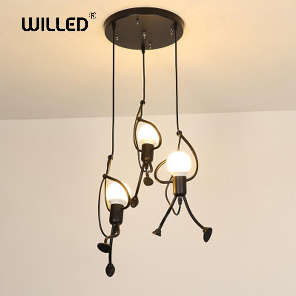Loft Pendant Lights Climbing Man Art Hanging Lamp Metal Cord Hanger Home Decor Light Creative For Room Lighting Lamps Nordic