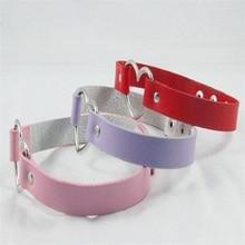 1pc women Punk CHIC Rivet Handmade Chain PU Leather Heart Collar Choker Necklace fine jewelry lovely