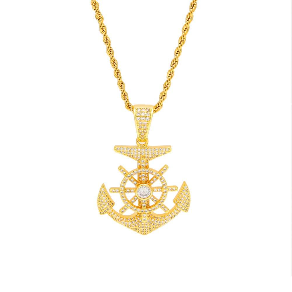 Hip Hop Punk Necklace Anchor Ship Rudder Cubic Zircon Pendant Twist Chain Mens Necklace Fashion Accessories Gifts Cool Jewelry fashion cool punk style pendant necklace brown virgo theme