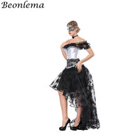 Beonlema Sexy Corset Dress Separated White Bustier Overbust Korse Short Sleeve Top Lace Long Skirt Women Party Ropa Gotica Mujer