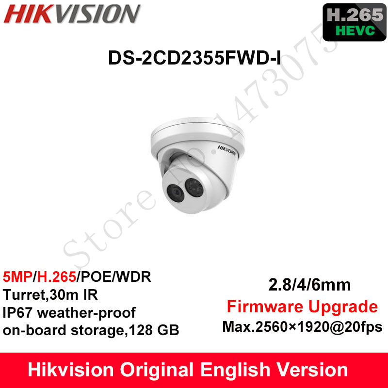 In Stock Hikvision English Security Camera DS-2CD2355FWD-I 5MP H.265+Mini Turret CCTV Camera WDR IP Camera POE on-board Storage hikvision original english h 265 5mp ip camera security outdoor camera ds 2cd2055fwd i 5mp bullet cctv ip camera h 265 ip67 poe