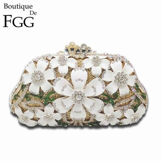 Luxury Handbags Women Bags Designer Wedding Bridal Flower Crystal Clutch Bag Evening Purse Chain Shoulder Purses Bolsa Feminina
