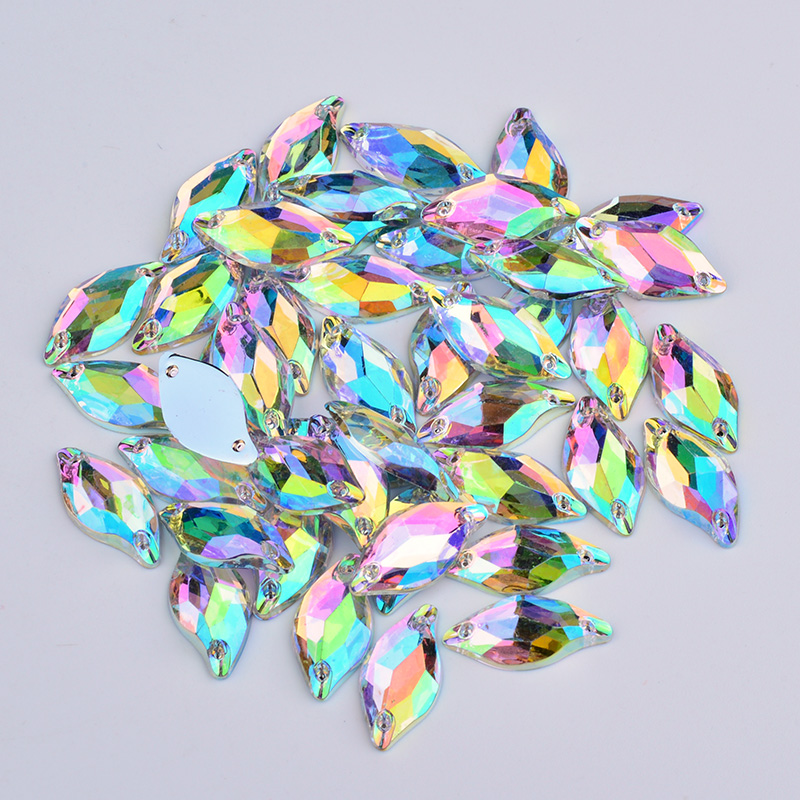JUNAO 9*20mm Crystal AB Sew On Flatback Rhinestones Horse Eye Acrylic Strass Applique Sewing Crystal Stones for Clothes Crafts