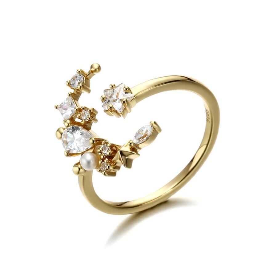 Zircon cubique anneaux anneau de perles d'eau douce 14 K bijoux en or de mariage bague de fiançailles ensembles pour les femmes