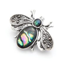 Wuli&baby Vintage Silver Color Natural Shell Bee Brooches Women Men Insects Small Brooch Pins Gifts