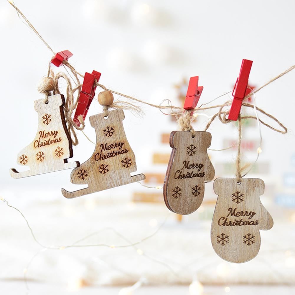 2pcs/set Wooden Christmas Decorative Pendant Creative Gloves Ice ...