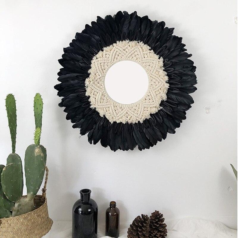 Tapisserie plume verre miroir Art créatif décoration miroir rond salon tenture murale miroir R1628