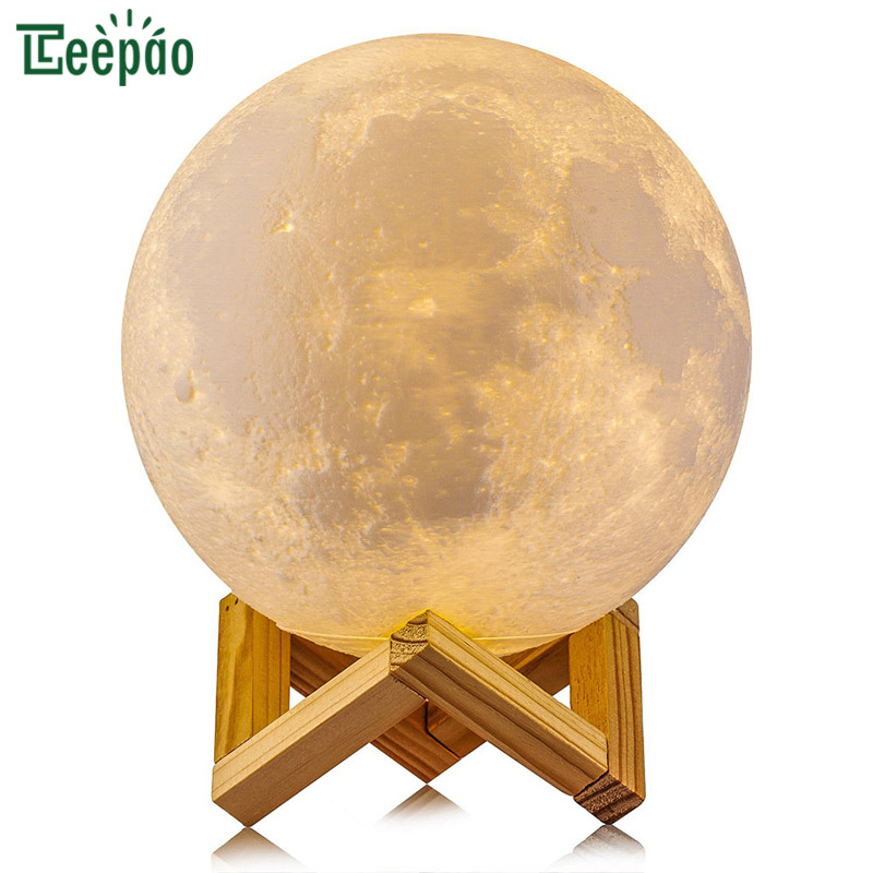 Touch Switch 3D Print Moon Lamp 2 Color Change Moonlight Desk Lamp Usb Led Night Light Home Decor Creative Gifts