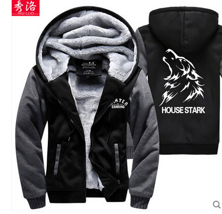 A Song of Ice and Fire hoodie fleece thick A Game of Thrones wolf house stark winter is comming costume hoodie coat
