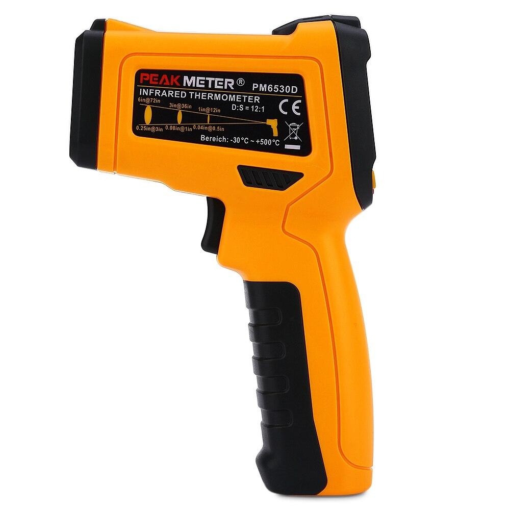 PEAKMETER PM6530D Digital Infrared Thermometer -50~800 Handheld LCD Display Temperature gauge Gun IRT K-type Ambient UV Light
