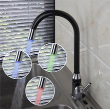 Медь кухня блюдо бассейна кран pull out, поворачивается СВЕТОДИОДНЫЕ бассейна кран смесителя черный, латунь кухня бассейна кран горячей и холодной