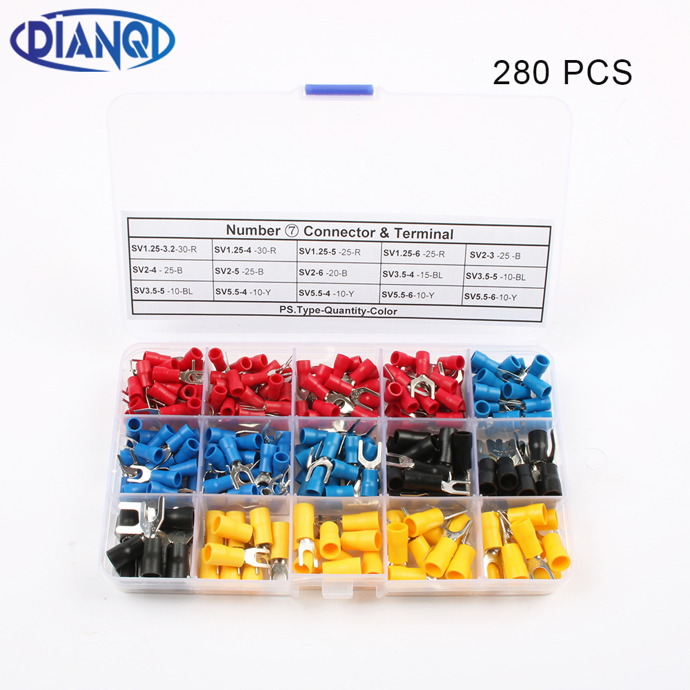 280Pcs/Set DIANQI SV Furcate Fork Spade Wire Crimp pressed terminals Cable Wire Connector SV Black Red Blue Yellow 22-10 AWG 280Pcs/Set DIANQI SV Furcate Fork Spade Wire Crimp pressed terminals Cable Wire Connector SV Black Red Blue Yellow 22-10 AWG