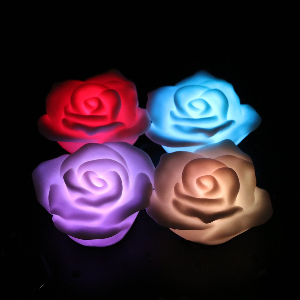 Romantic 7 Color Changing Rose Flower LED Night Light Lamp Battery-powered Tea Light Night Light Valentine Christmas Gift Lamp