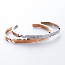 Yunruo oro rosa plateado grabado pulsera pareja nueva llegada cumpleaños mujer regalo de joyería fina de acero titanium envío gratis